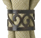 Scroll Napkin Rings by Park Designs, Brass, Brown Burl Finish, Choice of Sets
