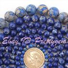 "4-14MM ROUND DARK BLUE IMPERIAL JASPER GEMSTONE BEADS STRAND 15"" PINK SIZE"