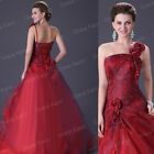 HOT RED MAXI HOMECOMING WEDDING BRIDAL PROM BALL GOWN Quinceanera FORMAL DRESS