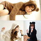 Women Girl Sweaters Plush Rabbit Ear Hooded Jacket Winter Warm Hoodie Coat Sweet