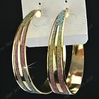 Fashion 3Pairs Big Color Frosted Womem Gold Hoop Earrings Wholesale Jewelry Lots