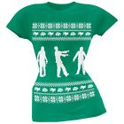 Zombie Ugly Christmas Sweater Green Soft Juniors T-Shirt Top
