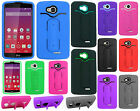 Virgin Mobile LG Tribute Rubber Hybrid HARD Case Snap Tail STAND + Screen Guard