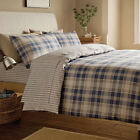 Tartan Navy Blue Pinstripe Brushed Cotton Flannelette Fitted Bed Sheet Bedding