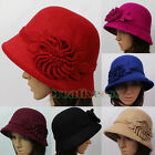 Stylish Womens Luxury Cloche Hat Vintage Flower Trim Cap Fedora Bucket Winter