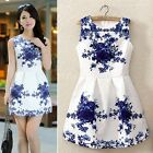 New Vintage Women Sleeveless White And Blue Porcelain Floral Printed Dress TTPK