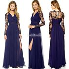 Sexy Elegant Long Sleeves Evening Gown Prom Ball Formal Black Lace Dress