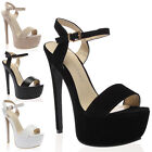 New Ladies Strappy Peep Toe Ladies High Platform Stileeto Heels Shoes Size 3-8