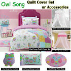 Owl Song Quilt Cover Set or Accessories by Jiggle & Giggle - SINGLE DOUBLE QUEEN