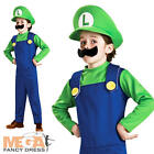 Luigi Super Mario Bros Boys Fancy Dress Kids 1980s Dress Up Childs Costume + Hat