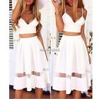 Summer Womens Sexy Two Piece Bralet Bustier Bra Crop Top Party Dress Skirt N4U8