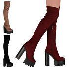 Ladies Block High Heel Womens Platform Cleated Sole Over The Knee Boots Size 3-8