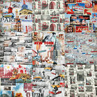 "100% PREMIUM COTTON FABRIC - 140cm / 55"" Wide - WORLD CITIES RETRO DESIGNS"