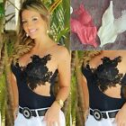 Sexy Womens Ladies Mesh Lace Floral Crochet Sleeveless Slim Bodysuit Top UK 8-14