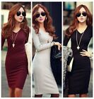 Sexy Autumn Winter Women Cotton Casual Bodycon Evening Cocktail Party Mini Dress