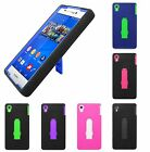 For Sony Xperia Z3v Heavy Duty Stand Multi Color Hard Soft Cover Case Accessory