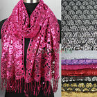 New Elegent Heart Pattern Crochet Net With Tassel Shiny Sequins Shawl Scarf