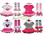 4pcs Newborn Infant Baby Girls Headband+Romper+Legs Warmer+Shoes Outfit Clothing