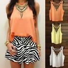 Sexy Women Summer Sleeveless Vest Tee Gauze Chiffon Shirt Top V Neck Blouse MLXL