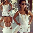 Fashion Womens Strappy Sheer Gauze Back See-Through White Tank Tops Shirt Blouse