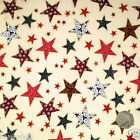 Cream Christmas Star fabric 100 % cotton per 1/2 mtr or per FQ craft/dressmaking