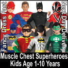 Child Padded Muscle Chest Superheroes Fancy Dress Costume Outfit New Kids Boys
