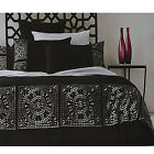 MOROCCO Faux Suede Black Silver Quilt Doona Cover Set  - QUEEN KING