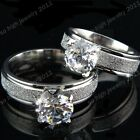 Stainless Steel 8M CZ Frosted White Gold Wedding Engagement Ring for Women Mens