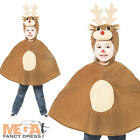 Rudolph Reindeer Kids Christmas Poncho Fancy Dress School Nativity Play Costume