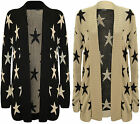 New Womens Star Pattern Print Long Sleeve Top Ladies Open Knitted Cardigan 8-14