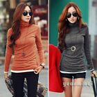 Women Turtleneck Autumn Winter Fitted Casual Cotton T-Shirt Blouse Top Pullover