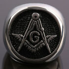 Masonic Ring Stainless Steel Men's Mason Freemason Symbol Round Finger Ring