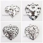 2/10x Vintage Silver Charms Hollow Heart Alloy Pendants Findings Fit Necklace LC