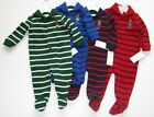Ralph Lauren Baby Boys Striped Bear Shawl Neck Button Down Footed Coverall