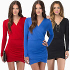 Elegant Ladies Sexy Long Sleeve Tunic Bodycon Clubwear Party Cocktail Mini Dress