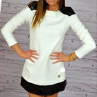 Women Winter Long Sleeve Dresses Casual Slim White Splicing Mini Dress Reliable