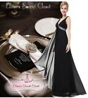BNWT OHARA Black Chiffon Sequin Prom Evening Ballgown Maxi Dress UK 6 - 18