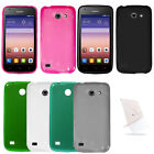 For Huawei Tribute 4G LTE Y536 AT&T Tpu Cover Rubber Gel Case + UNI Screen