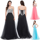 BEADED Corset Strapless Long Evening Gowns Party Prom Bridesmaid Cocktail Dress