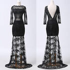 BLACK Sexy Backless Sheer Lace Long Masquerade Prom Party Evening Gowns Dresses