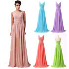 STRAP Long Chiffon Bridesmaid Formal Gown Ball Party Cocktail Evening Prom Dress