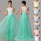 Formal Long Lace Evening Gown Ball Bridesmaid Prom Wedding Party Dresses UK 6~20