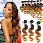 Ombre Brazilian Virgin Remy Human Hair Extension Body Wave 3Tone 1b/33/27 UK Hot
