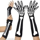 Ladies Sexy Halloween Black White Skeleton Fingerless Fancy Dress Costume Gloves