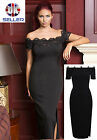 WOMENS LADIES OFF SHOULDER MIDI LONG COCKTAIL PARTY DRESS LACE FORMAL BODYCON