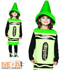 Green Crayola Crayon Childs Fancy Dress Book Week Day Costume Kids Costume New