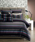 6 Pce LINCOLN Black Aqua QUEEN Quilt Cover Set + Filled Cushion + 2 Eurocases