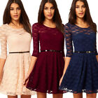 Hot New Womens Sexy Lace Hollow Clubwear Evening Party Summer Dress+Belt Thrifty