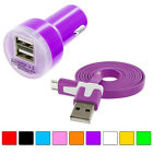 Flat Noodle Micro USB Data 3FT Cable+Fast Charging 2.1A Car Charger for Phones