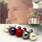 Women's Wholesale Candy Color Double Sides Simulated Pearl Crystal Stud Earrings
